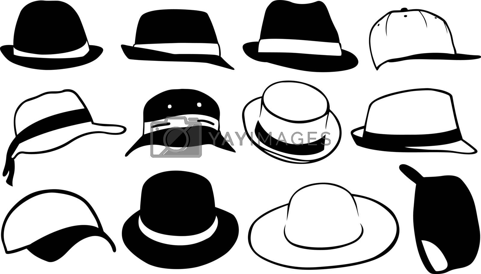 set of different hats isolated