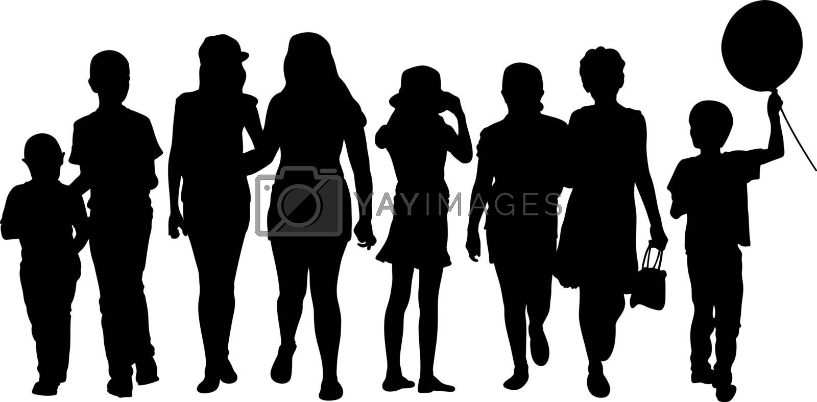 silhouettes of kids isolated on white