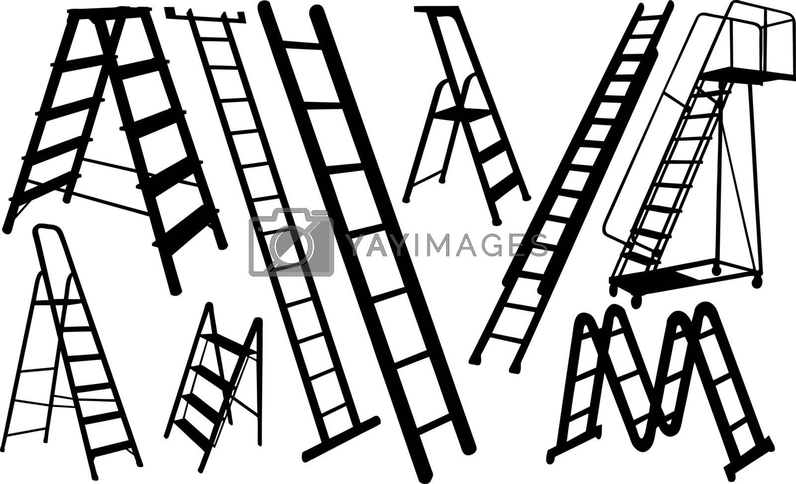 set of different ladders isolated