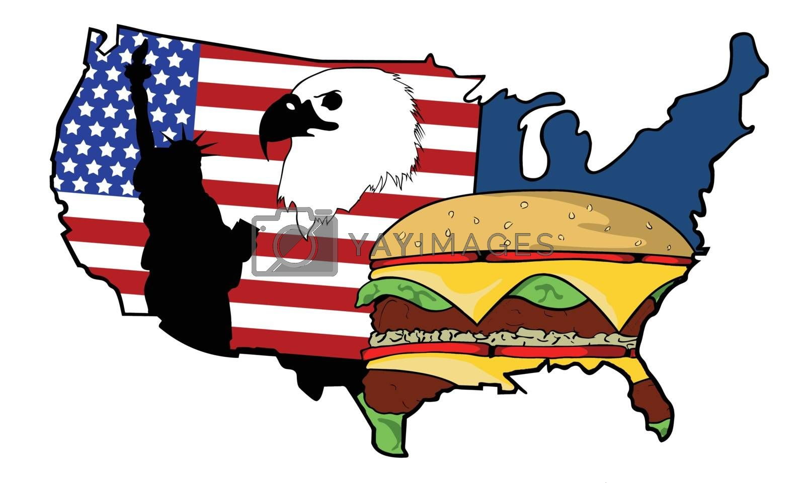U.S.A. map with iconic elements