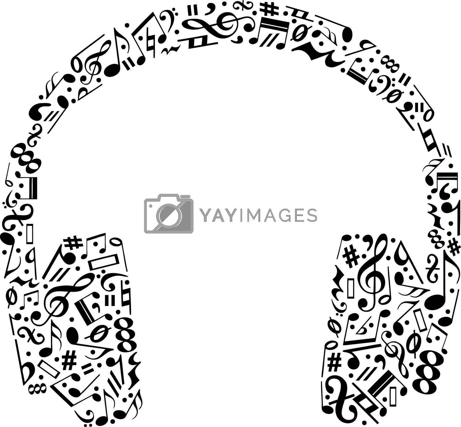 headphones made of music notes