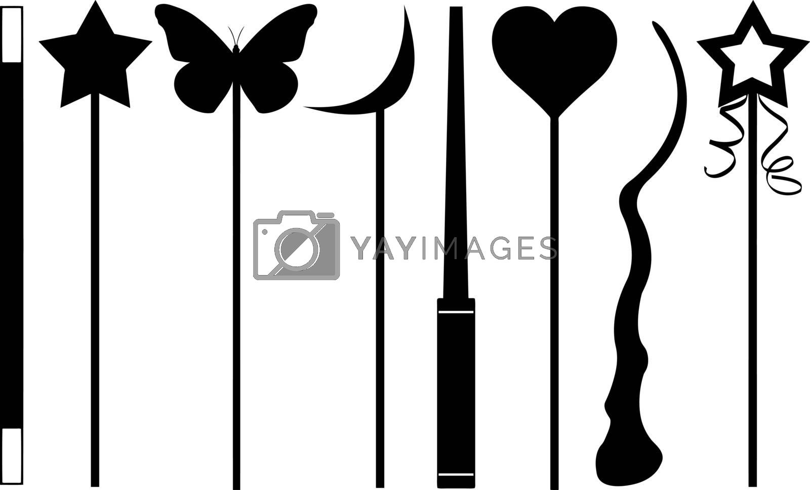 set of different magic wands