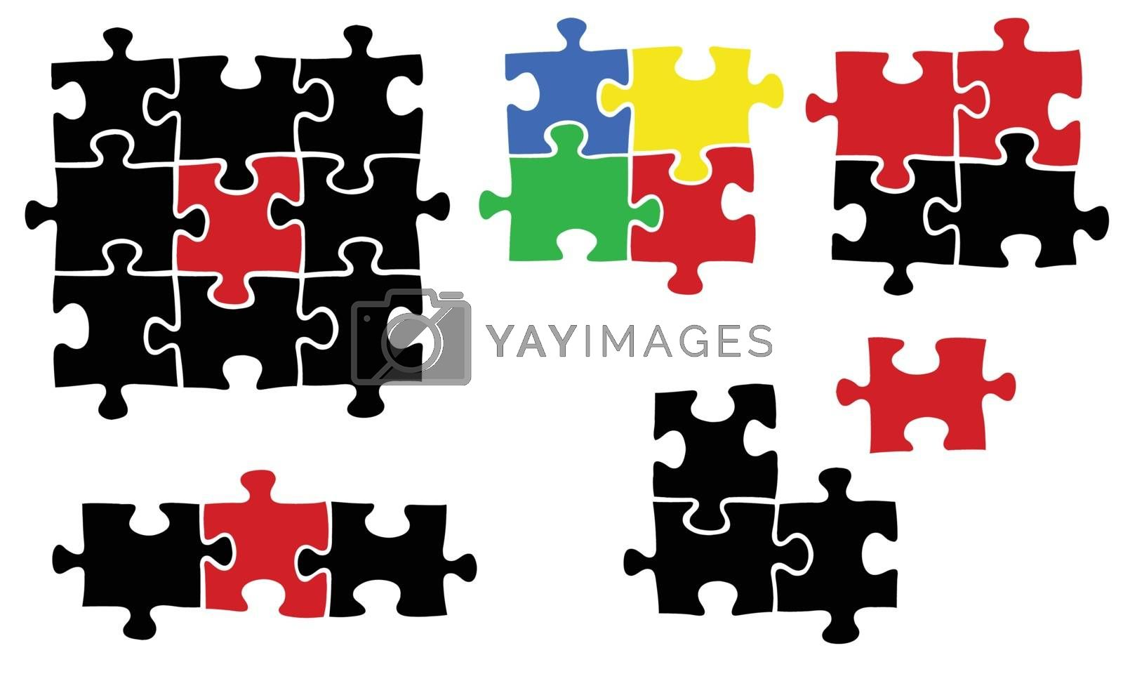 set of different puzzle pieces