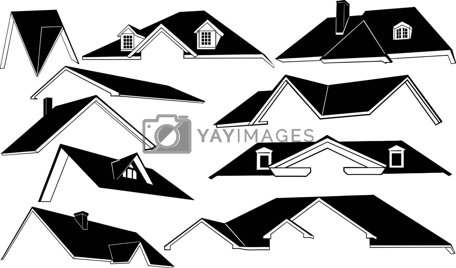 set of different roofs