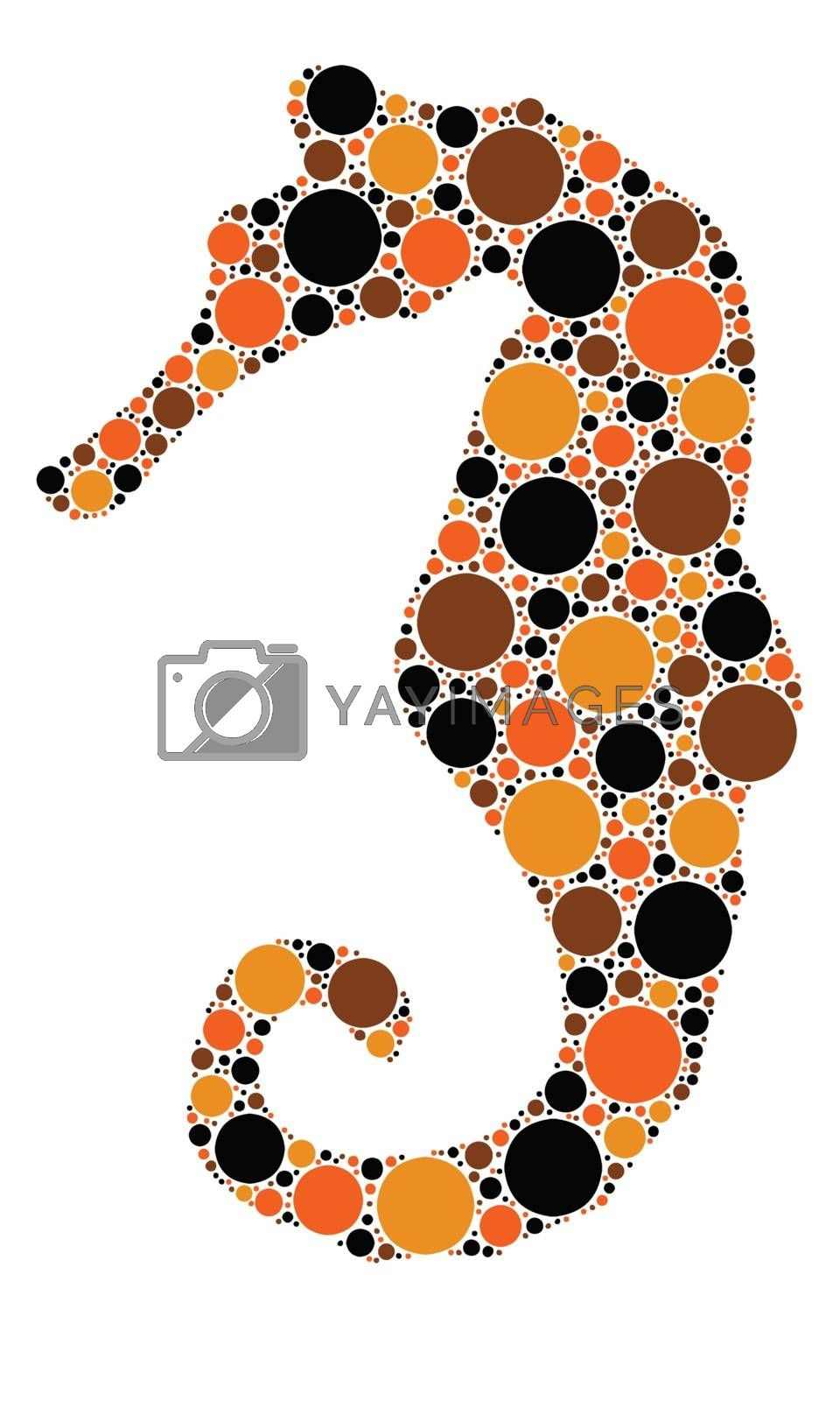 dotted silhouette of a sea horse