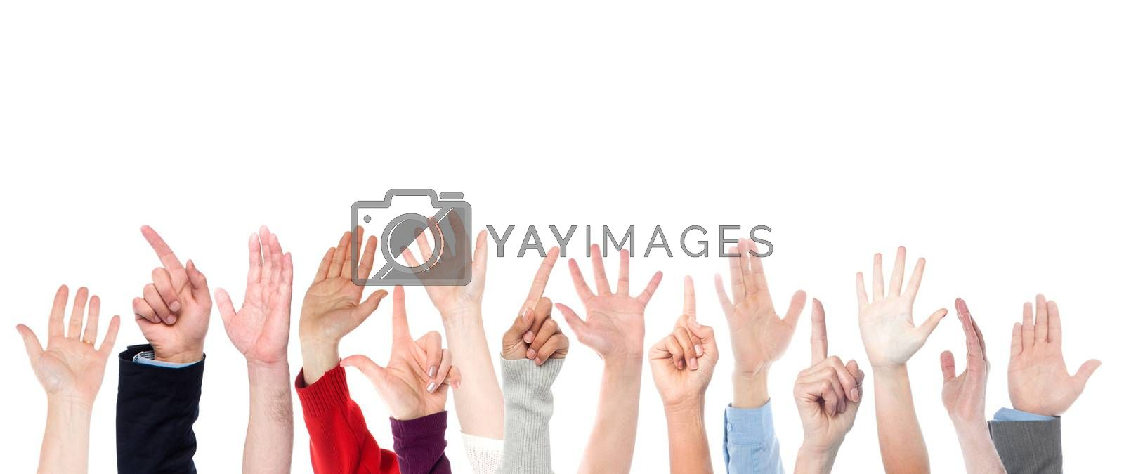Hands raised up. Isolated over white background