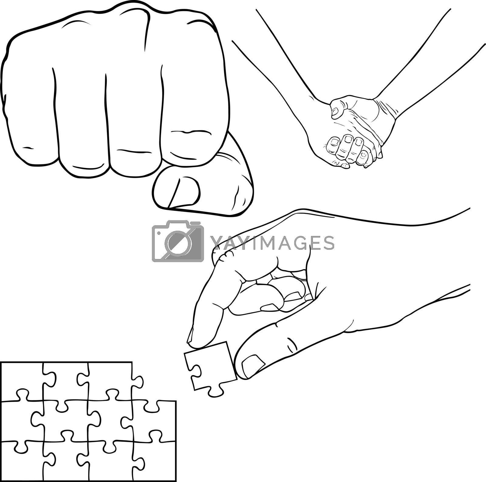 set of different hands