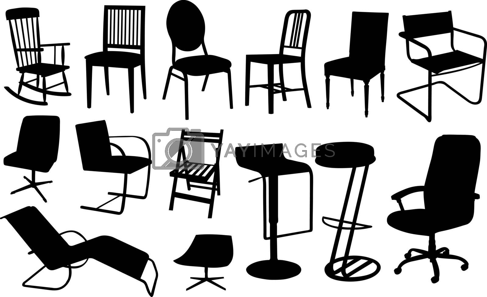 set of different chairs
