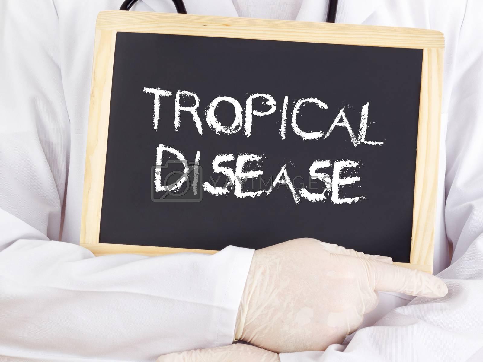 Doctor shows information on blackboard: Tropical disease