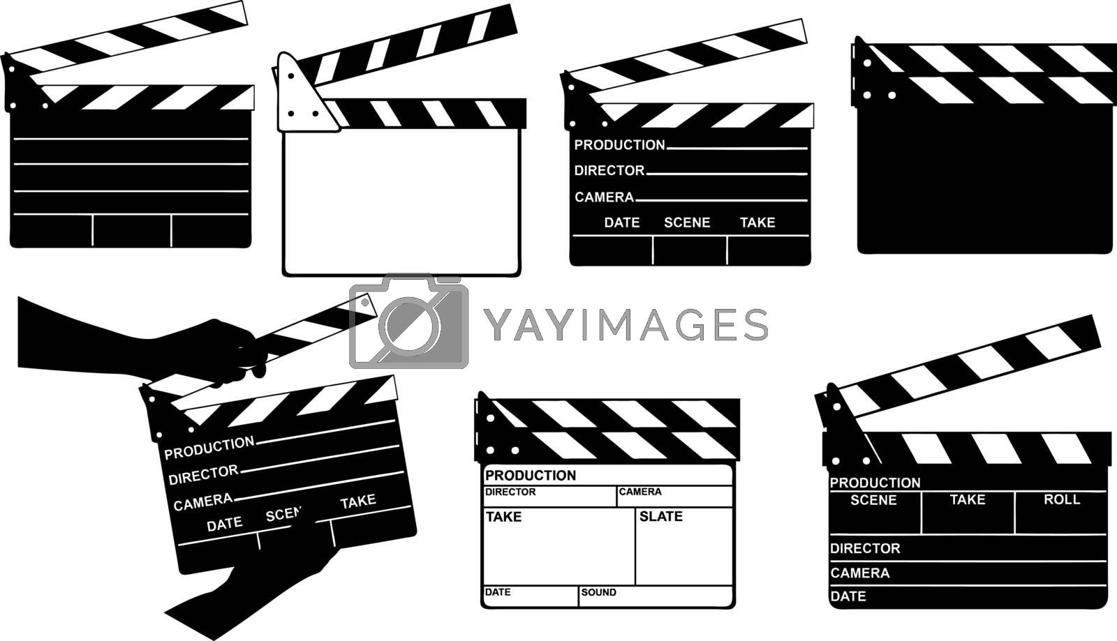 set of different clapperboards