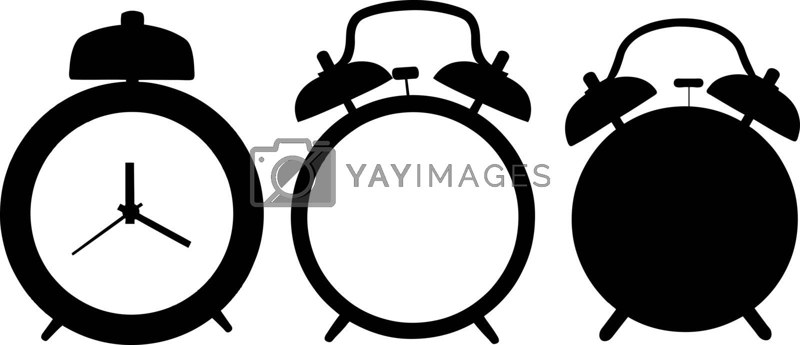 set of different alarm clocks