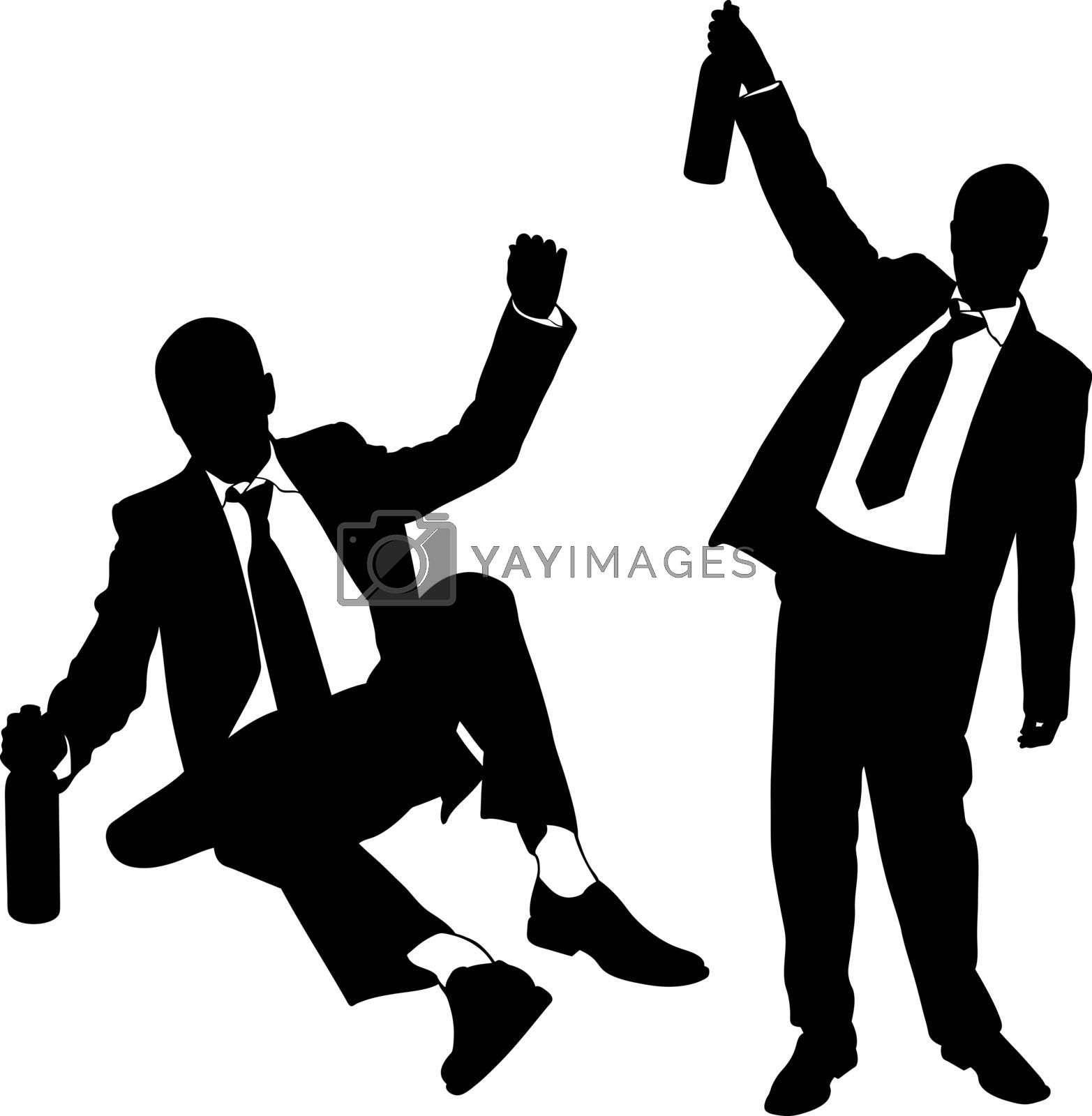 silhouettes of drunk men