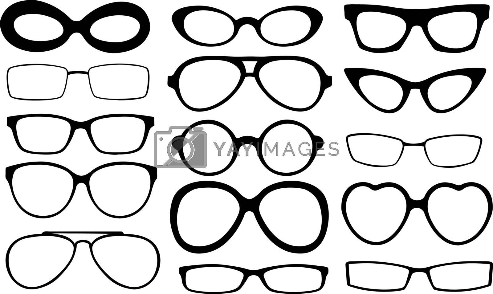 set of different eyeglasses frames