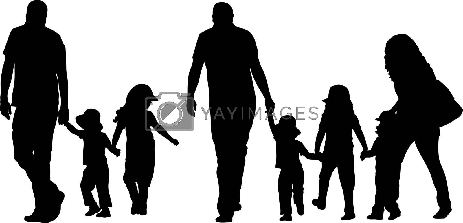 family silhouettes holding hands