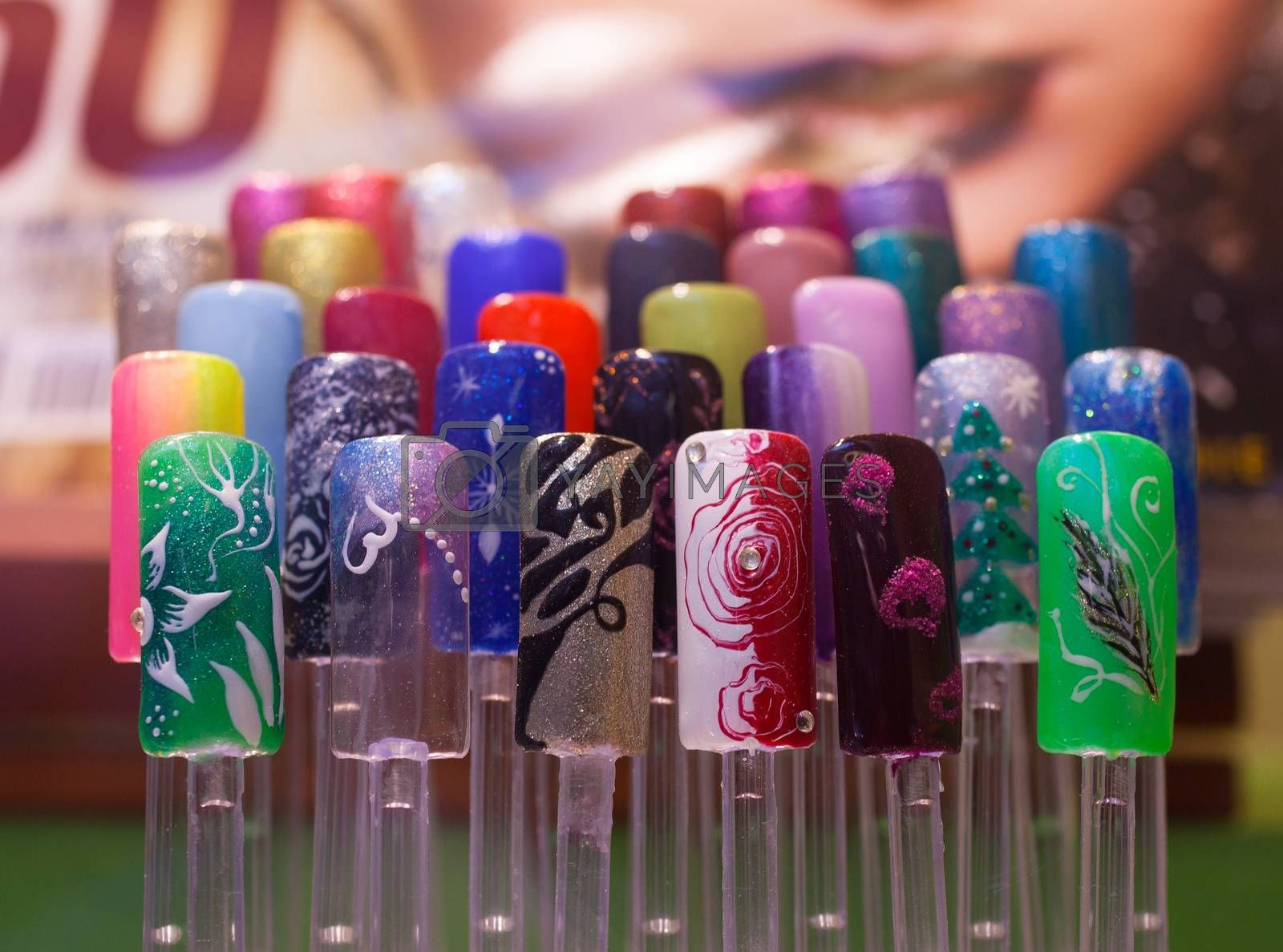 View of many decorated fake nails