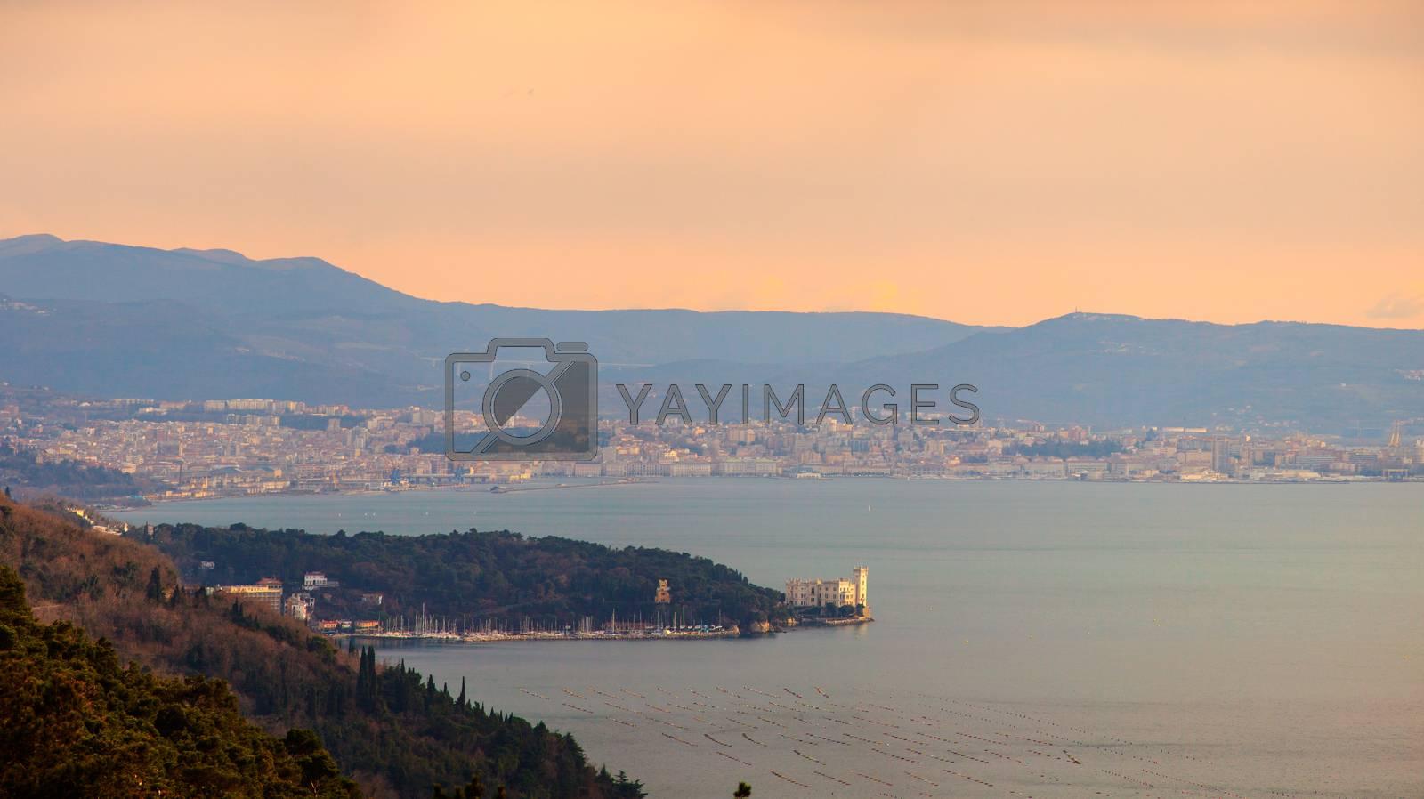View of Miramare castle in the Trieste coast