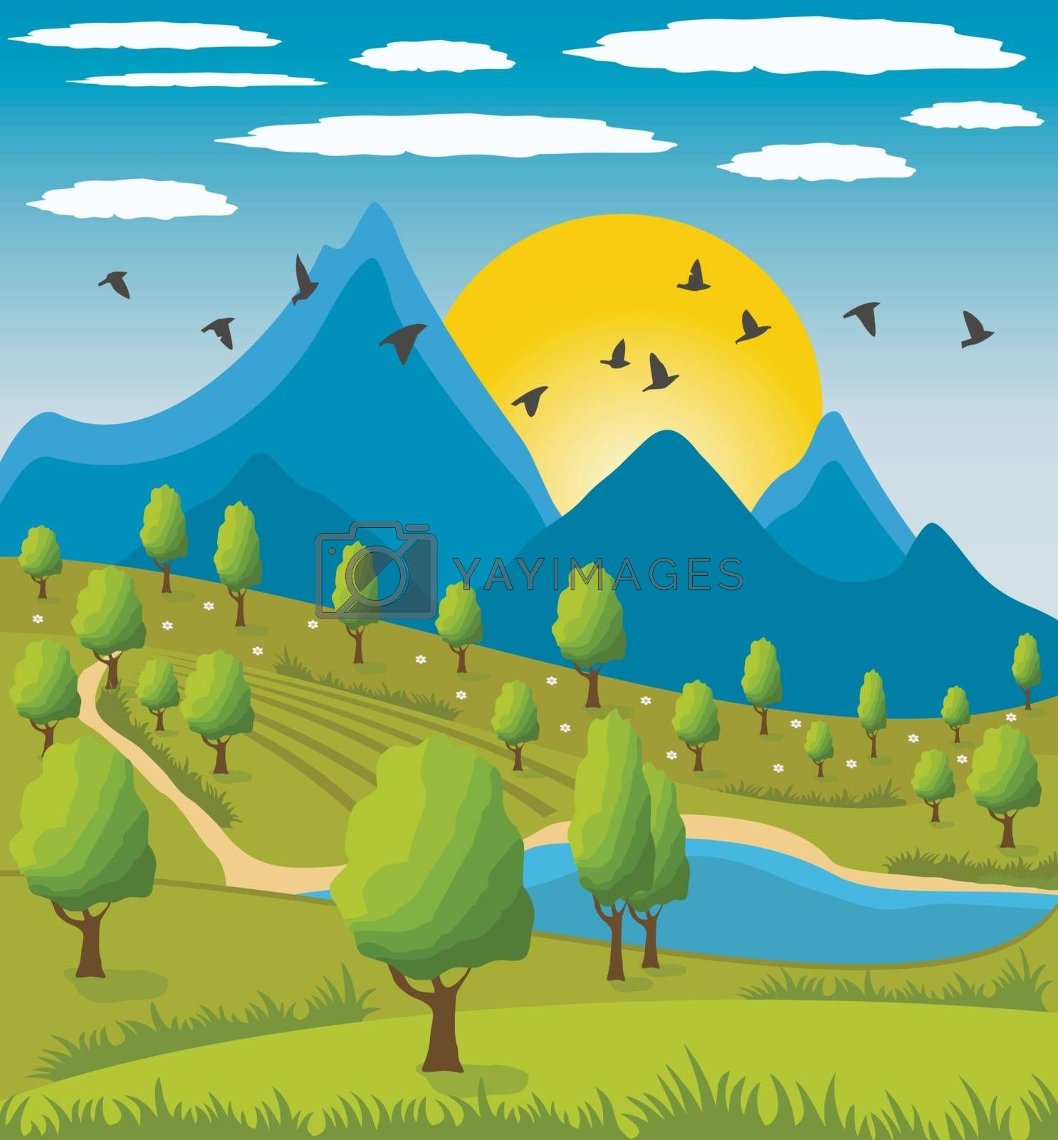 Illustration of beauty landscape with tree and mountain background