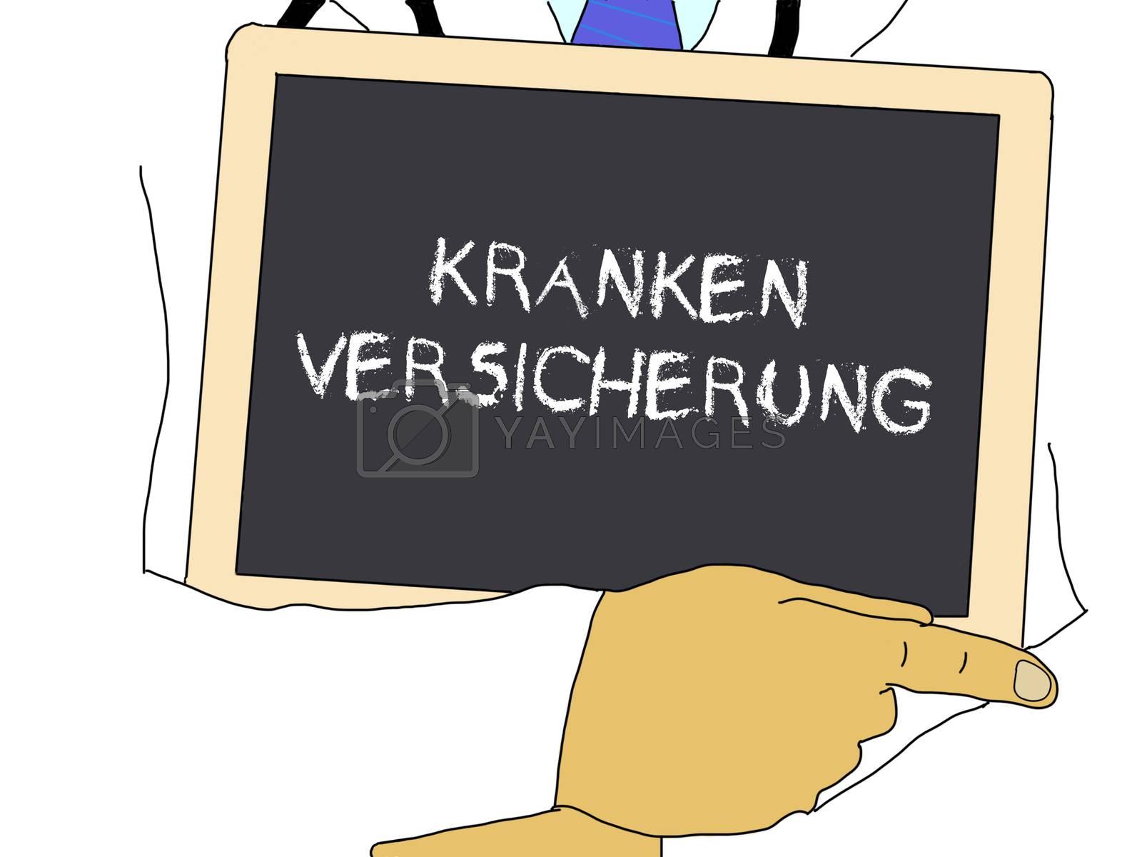 Illustration: Doctor shows information: Health insurance in german