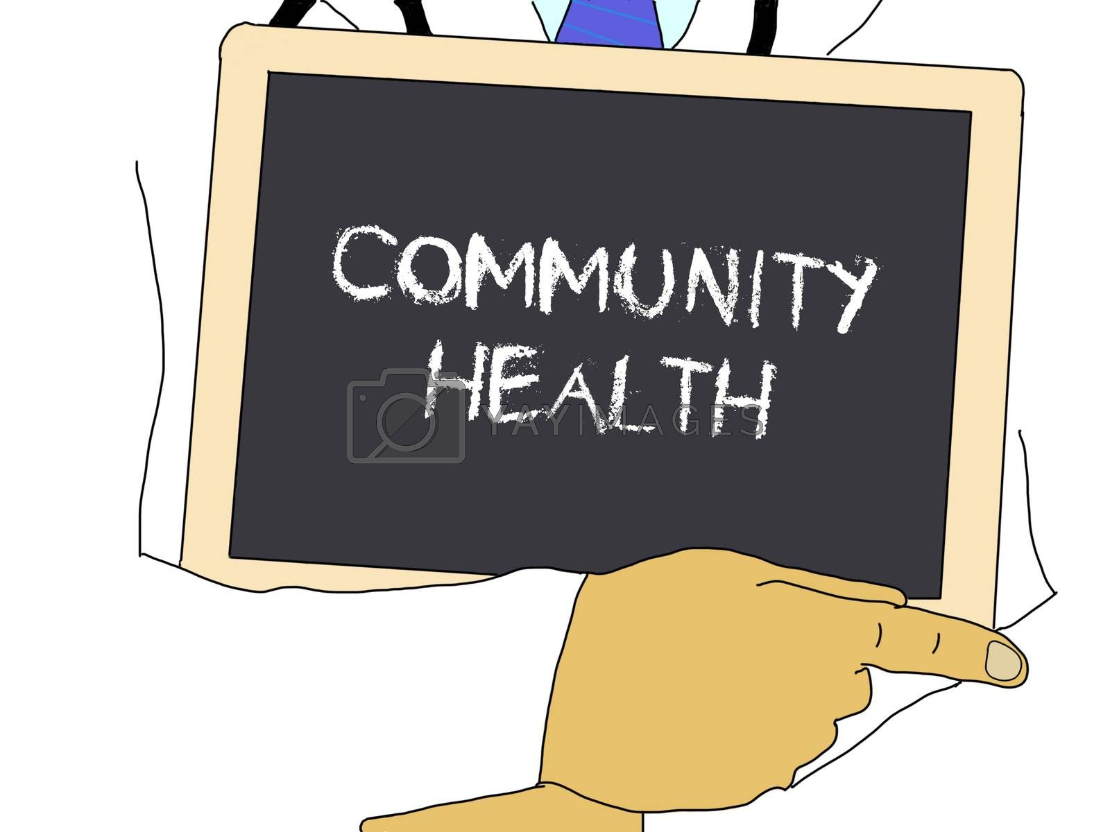 Illustration: Doctor shows information: Community health