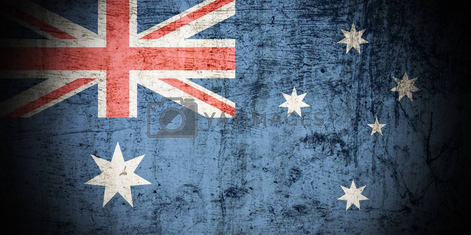 A Colourful Grunge style Australian Flag Illustration