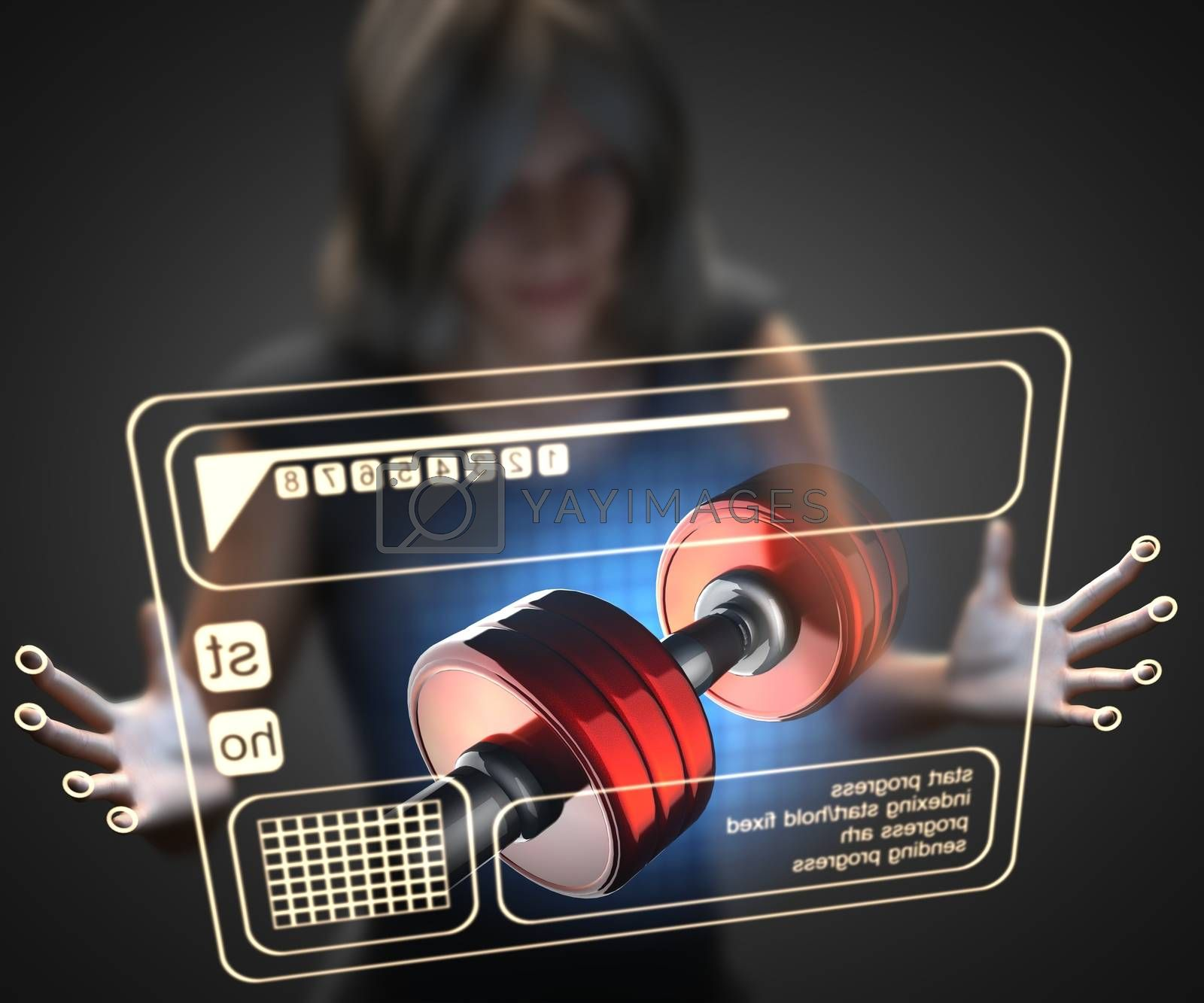 Royalty free image of woman and hologram with dumbbell by videodoctor