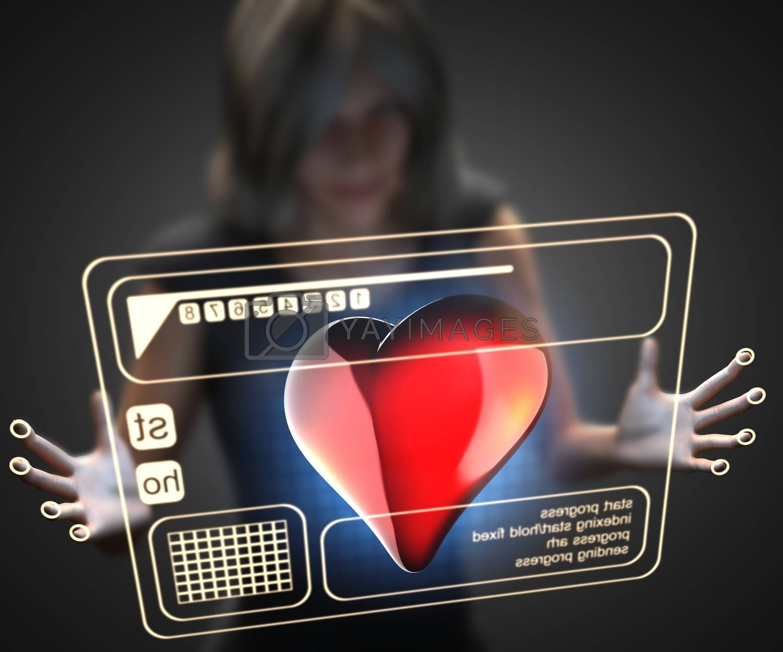 Royalty free image of woman and hologram with heart by videodoctor