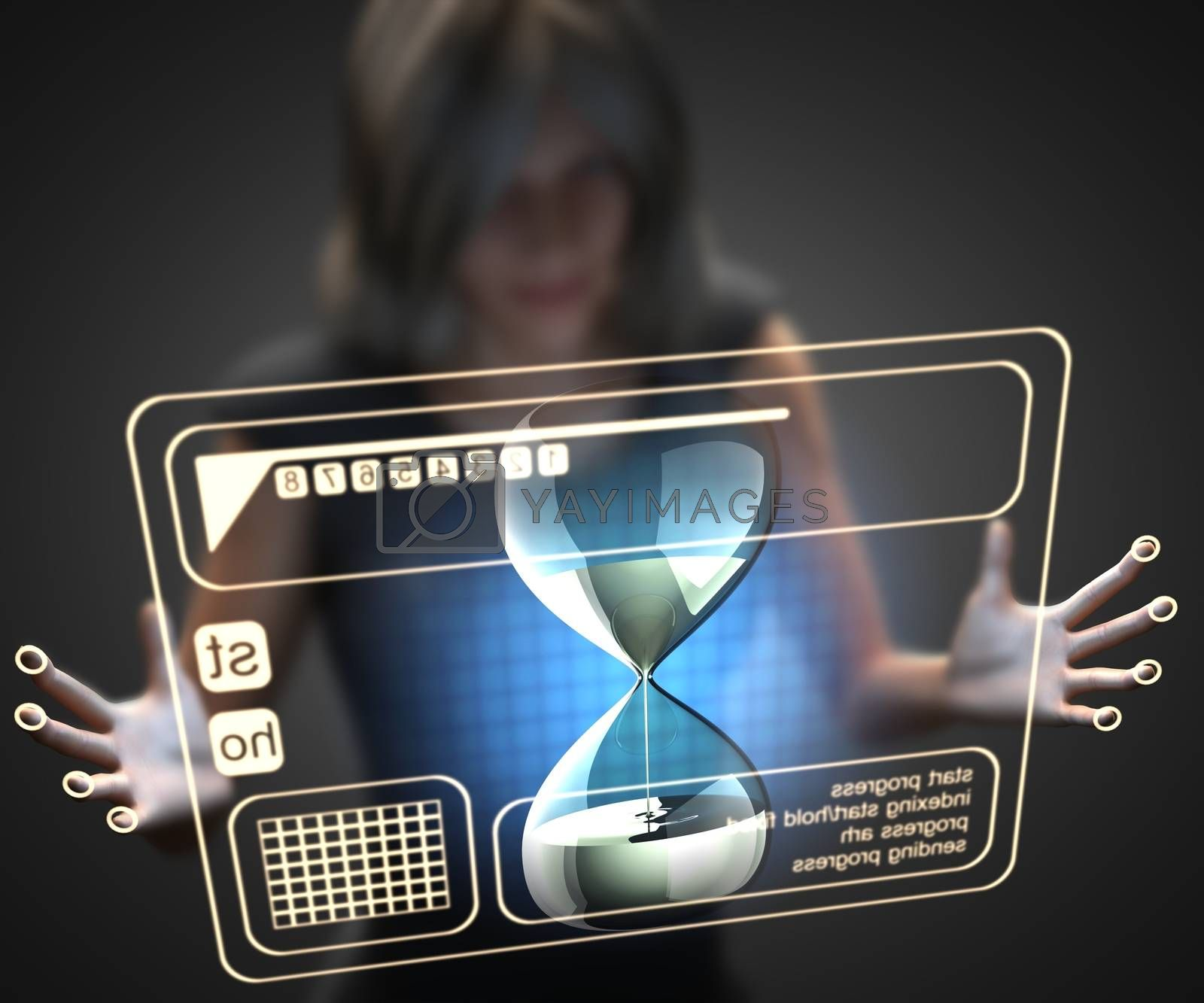 Royalty free image of woman and hologram with hourglass by videodoctor