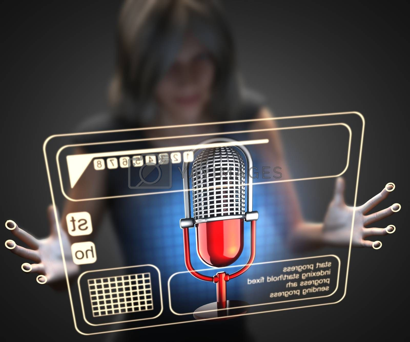 Royalty free image of woman and hologram with microphone by videodoctor