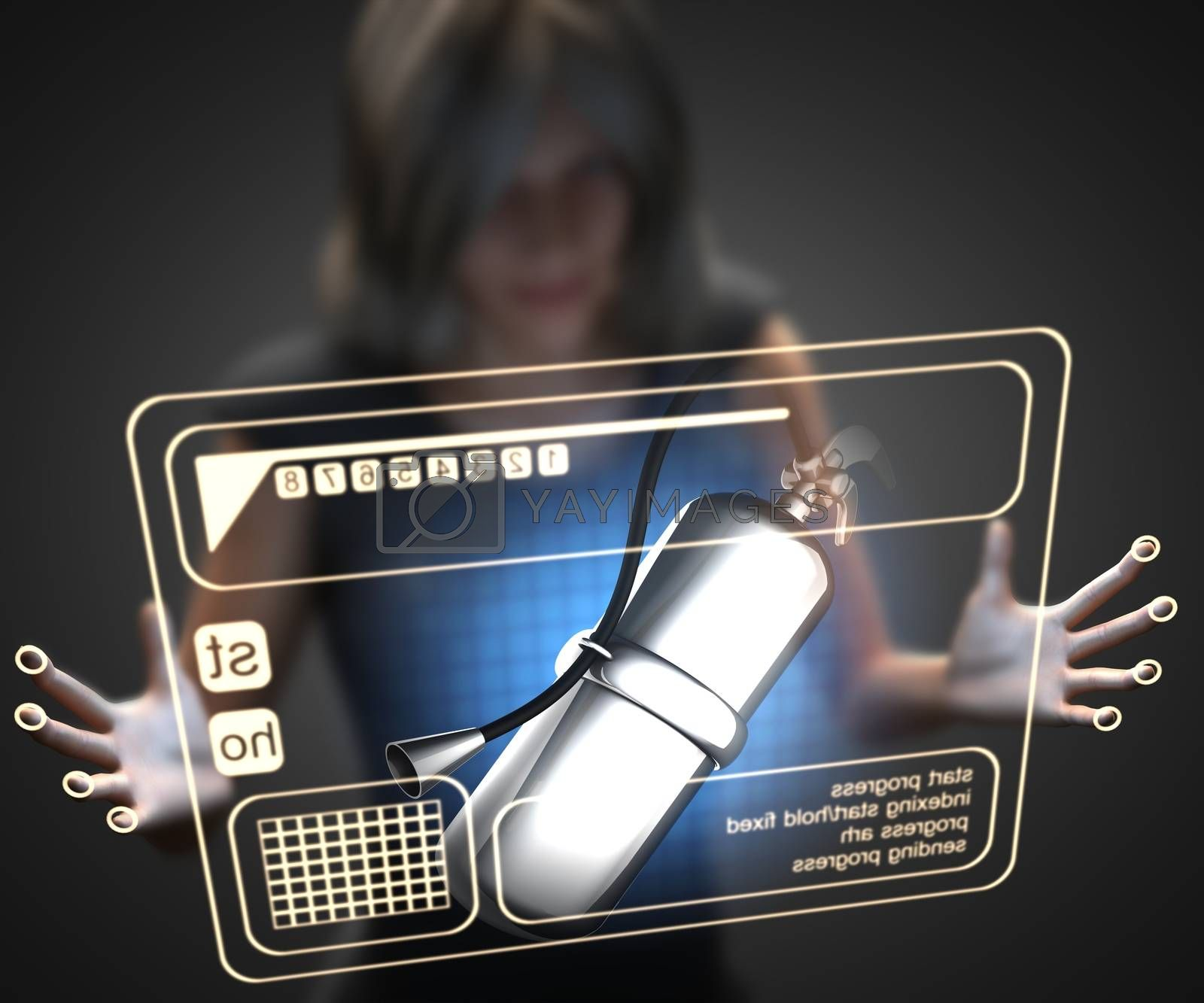 Royalty free image of woman and hologram with fire extinguisher by videodoctor