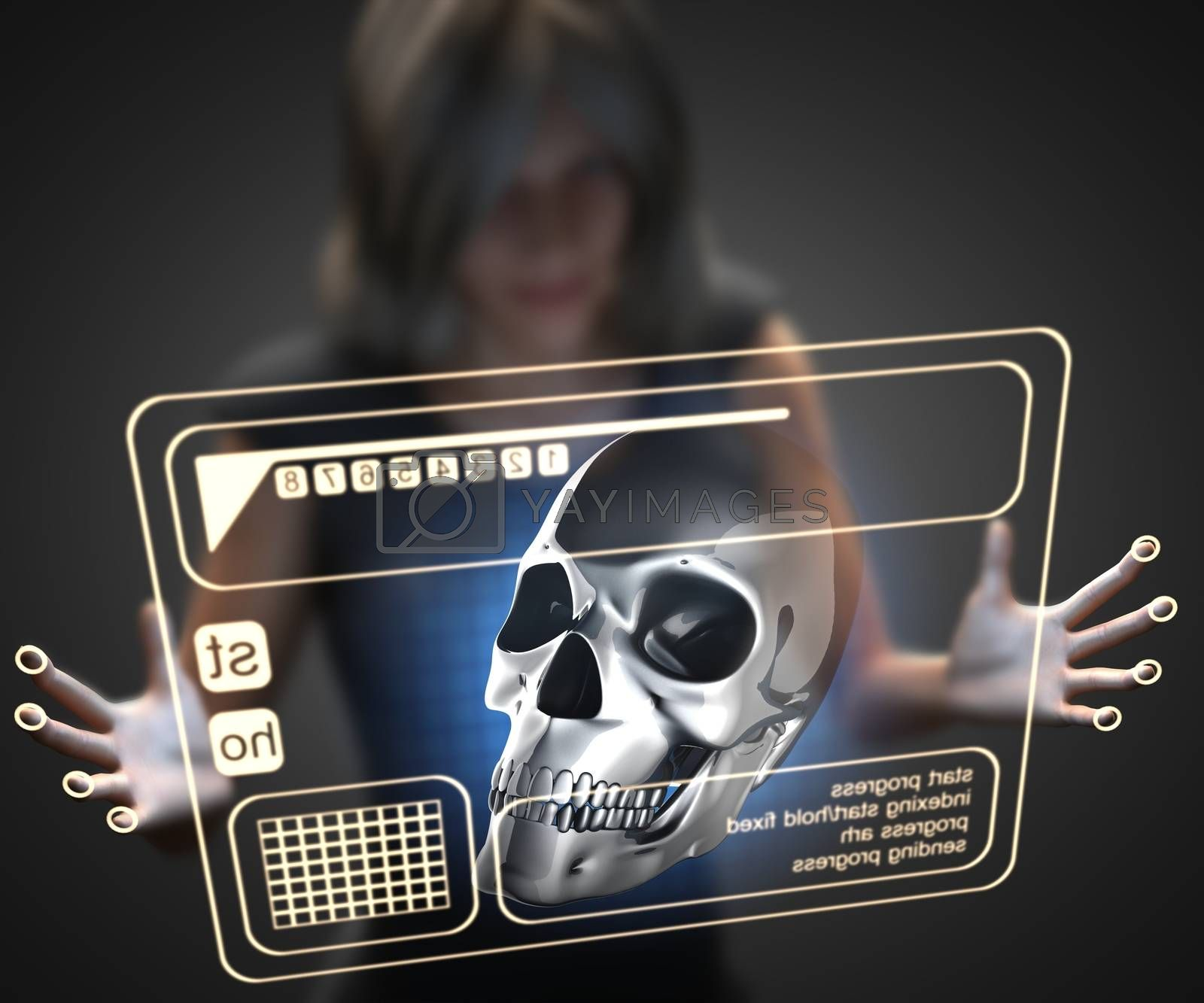 Royalty free image of woman and hologram with skull by videodoctor