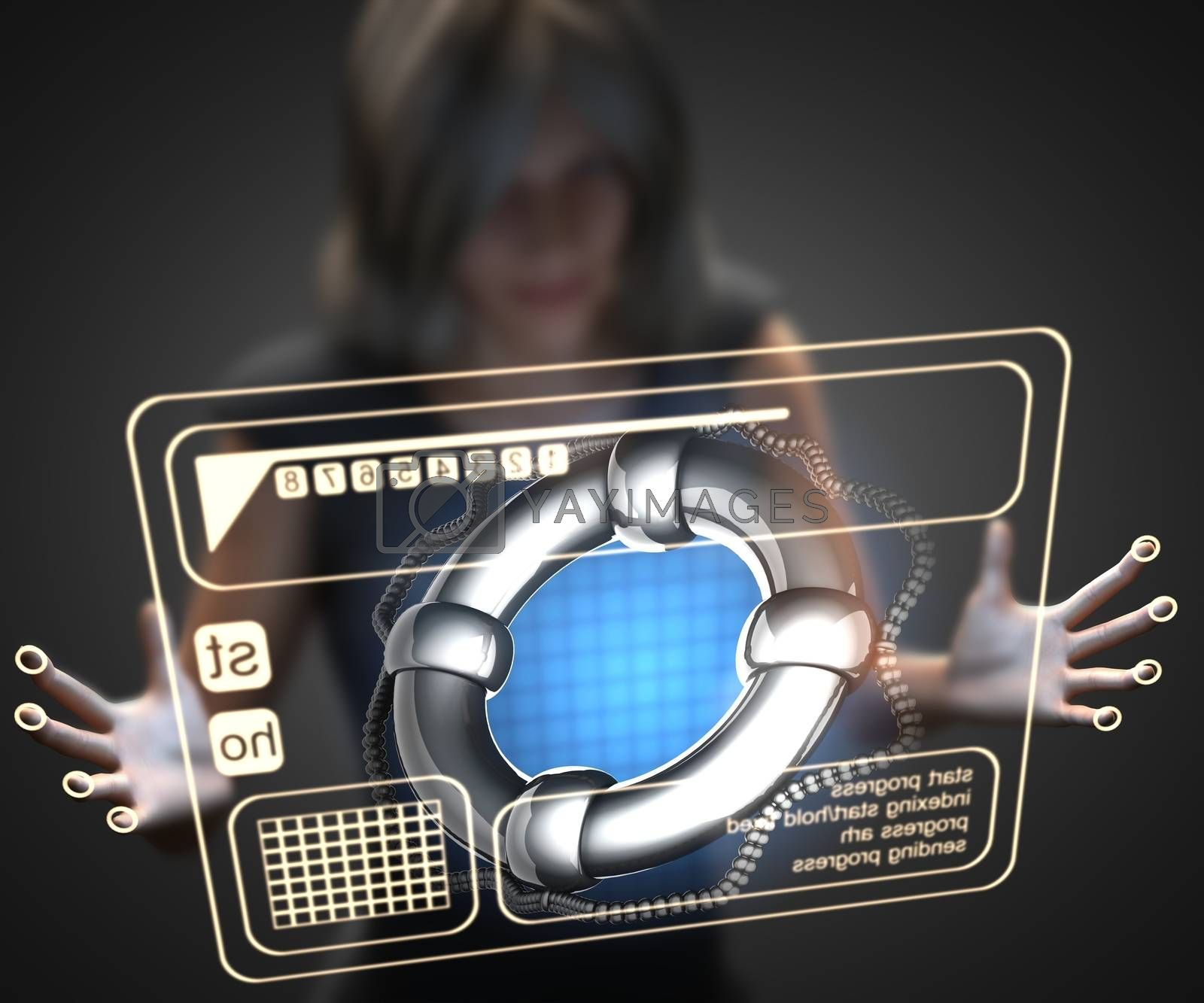 Royalty free image of woman and hologram with lifebuoy by videodoctor