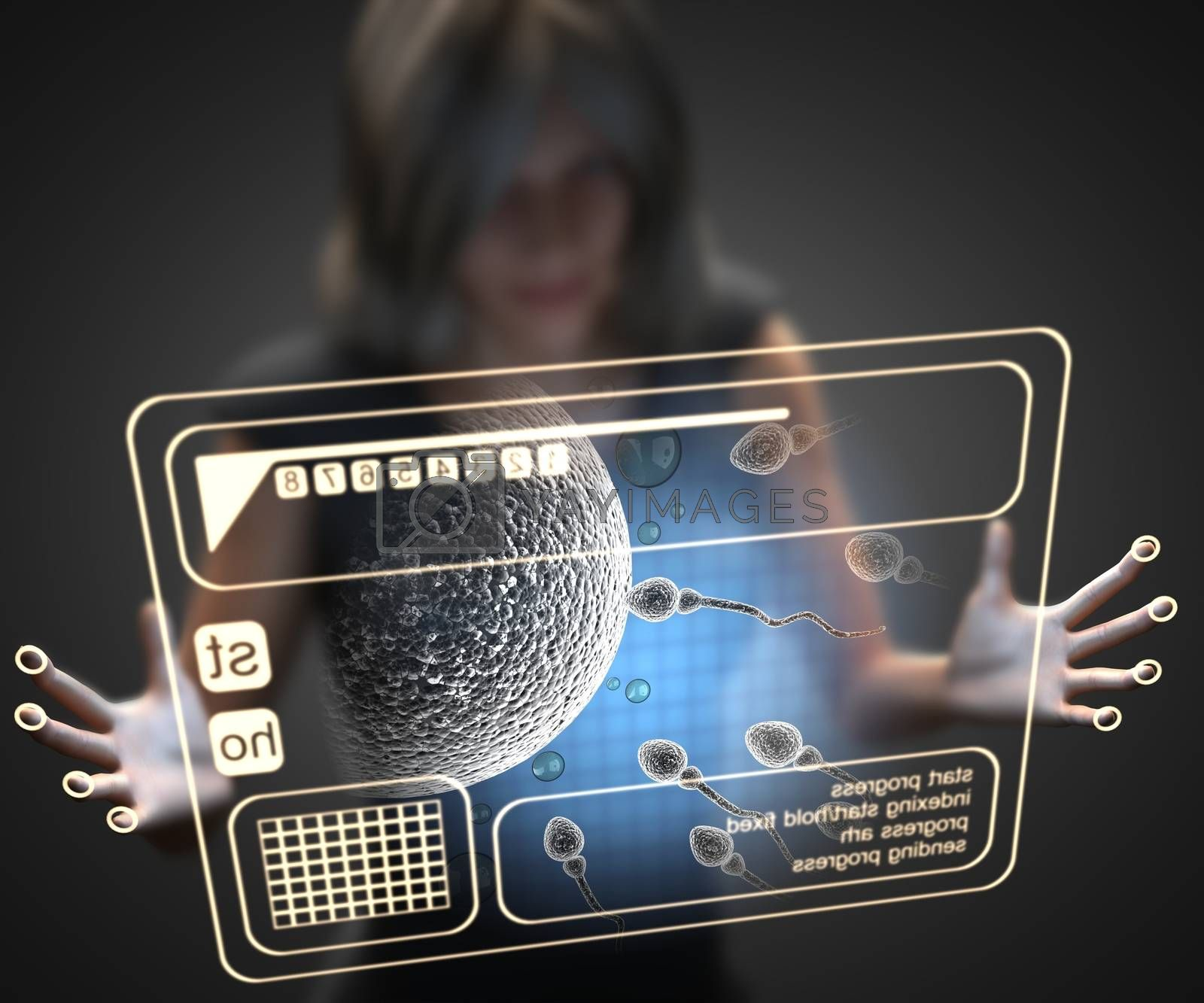 Royalty free image of woman and hologram with reproduction by videodoctor