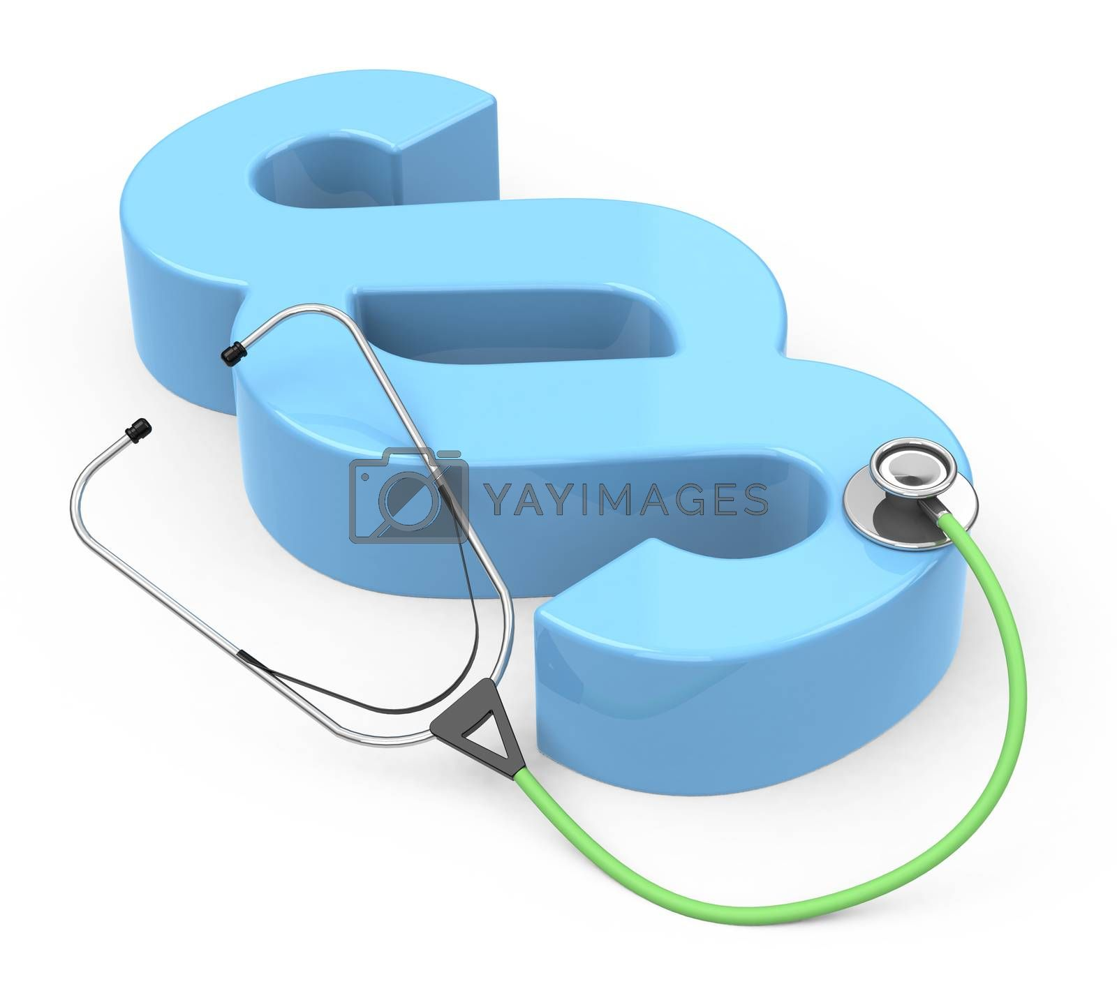 3d generated picture of a paragraph sign and a stethoscope
