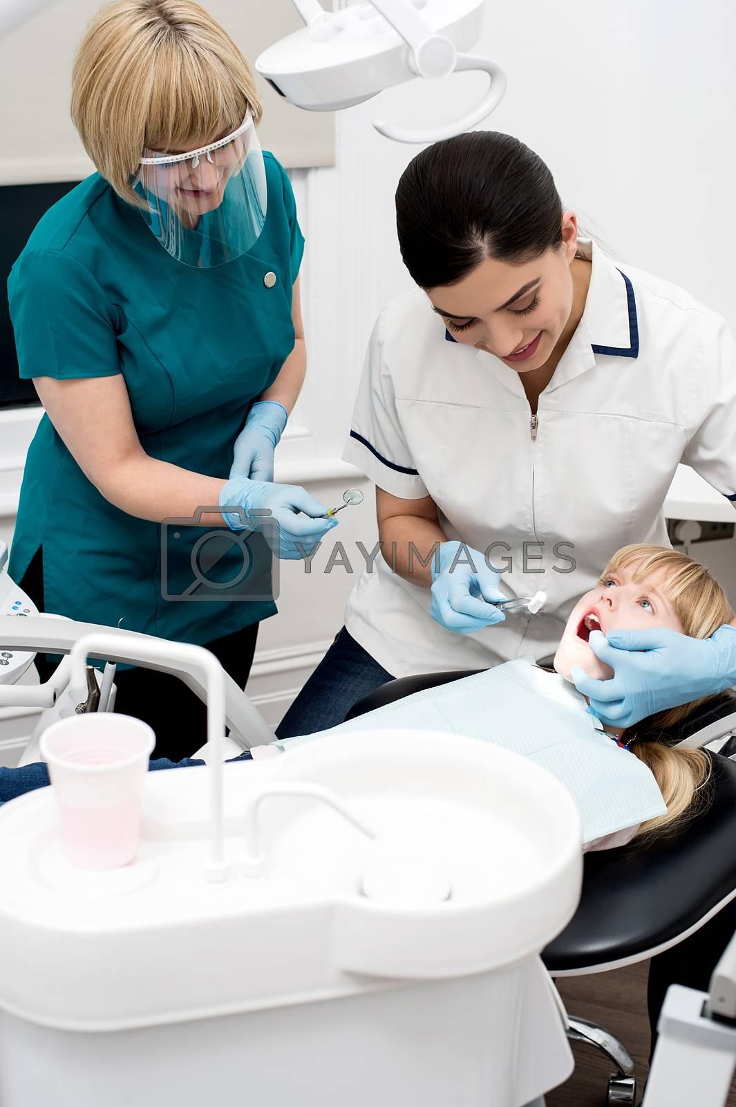 Professional dentist performing a dental procedure