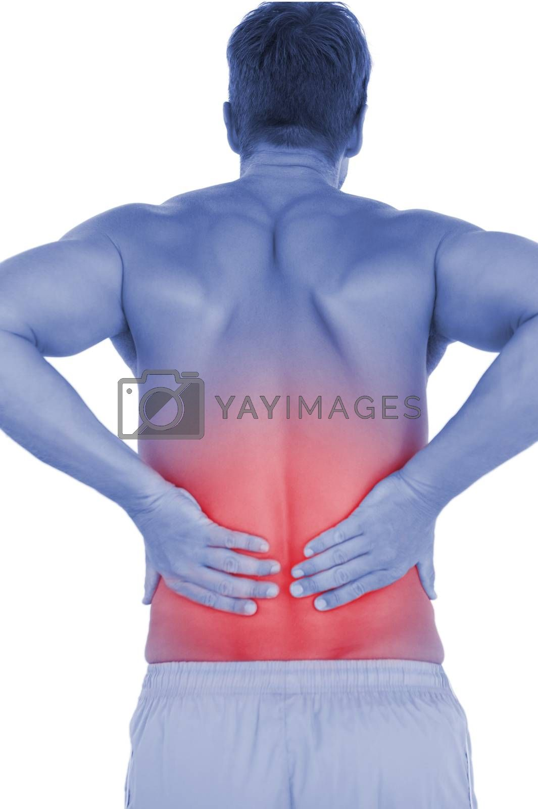 Shirtless Man Suffering From Lower Back Pain Royalty Free Stock Image Yayimages Royalty Free Stock Photos And Vectors
