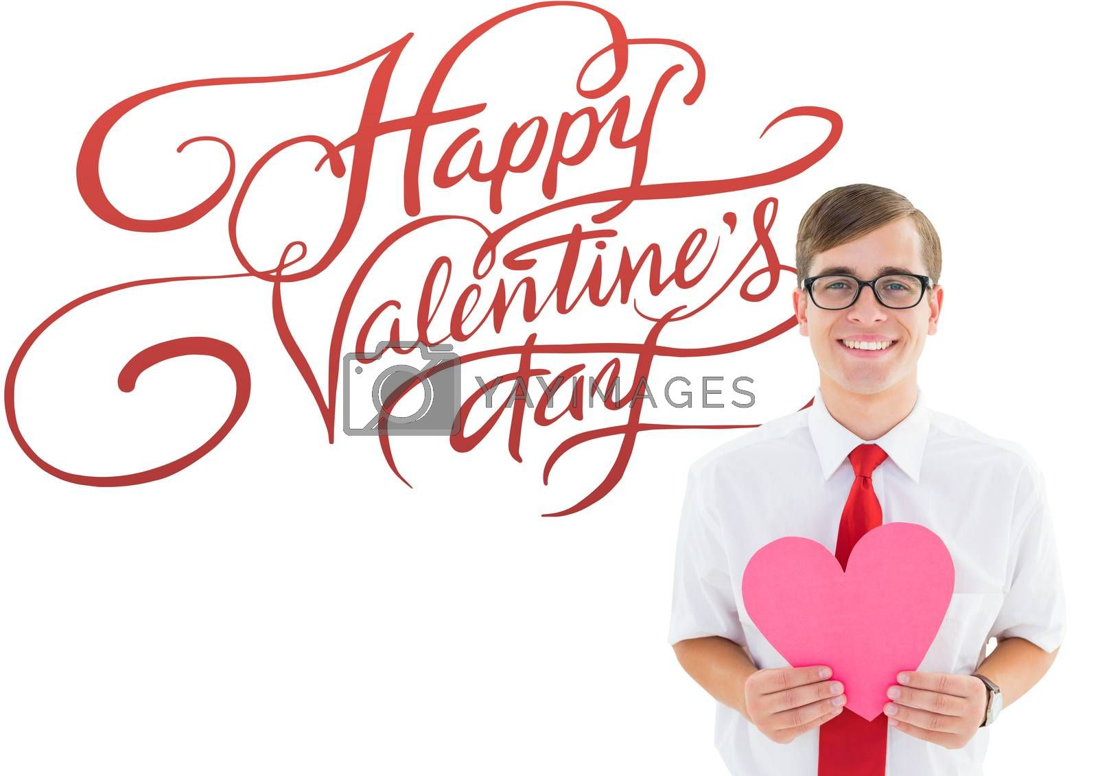 Romantic geeky hipster against happy valentines day