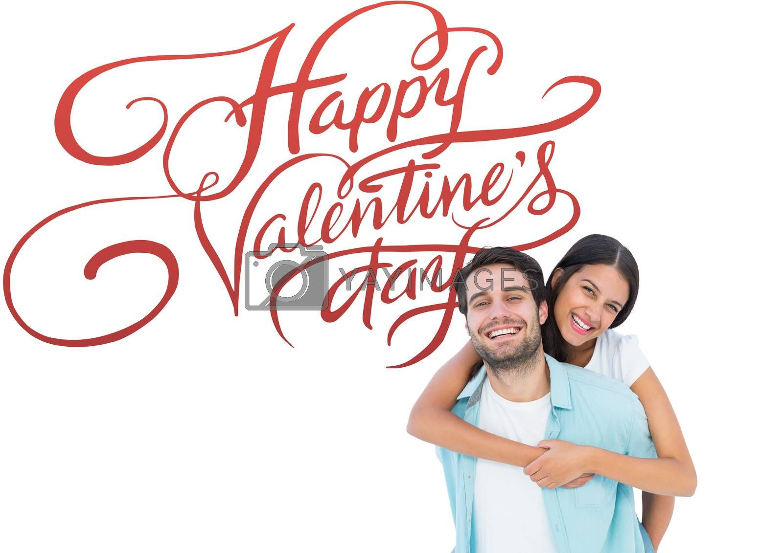 Happy casual man giving pretty girlfriend piggy back against happy valentines day