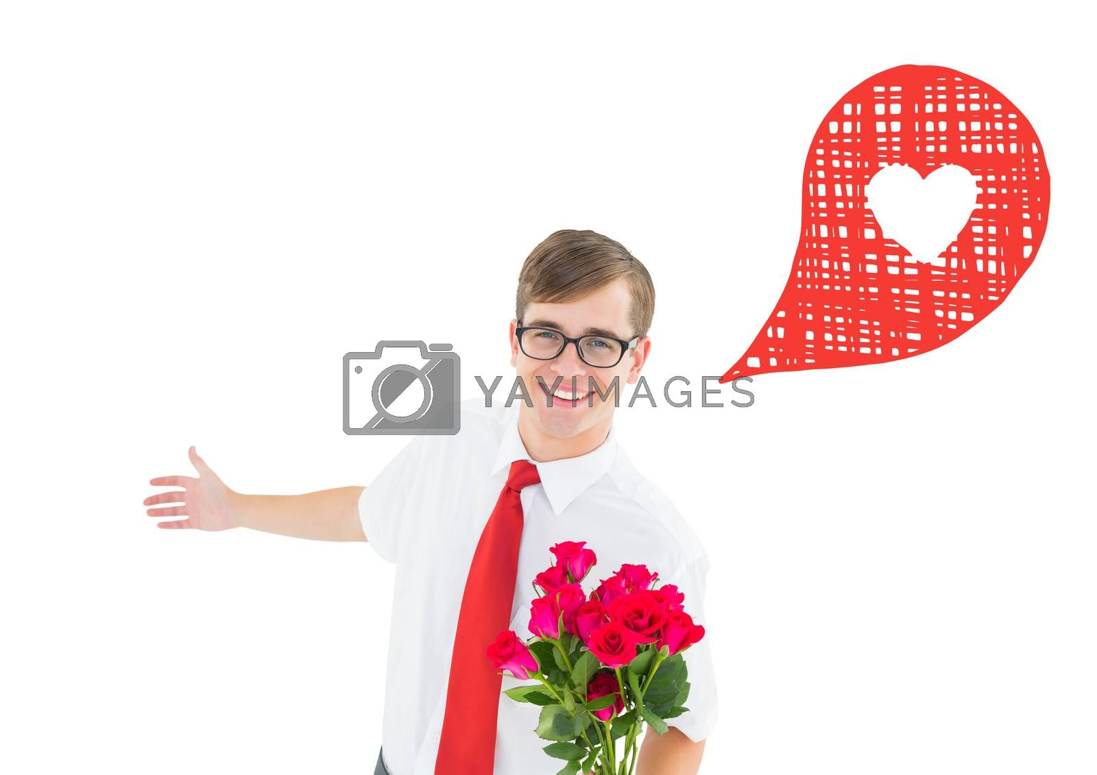Romantic geeky hipster against heart in speech bubble