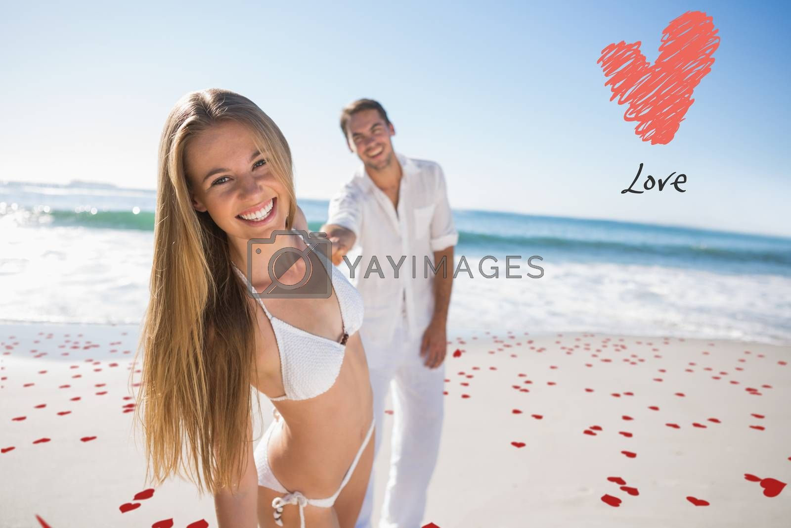 Woman smiling at camera with boyfriend holding her hand against love heart