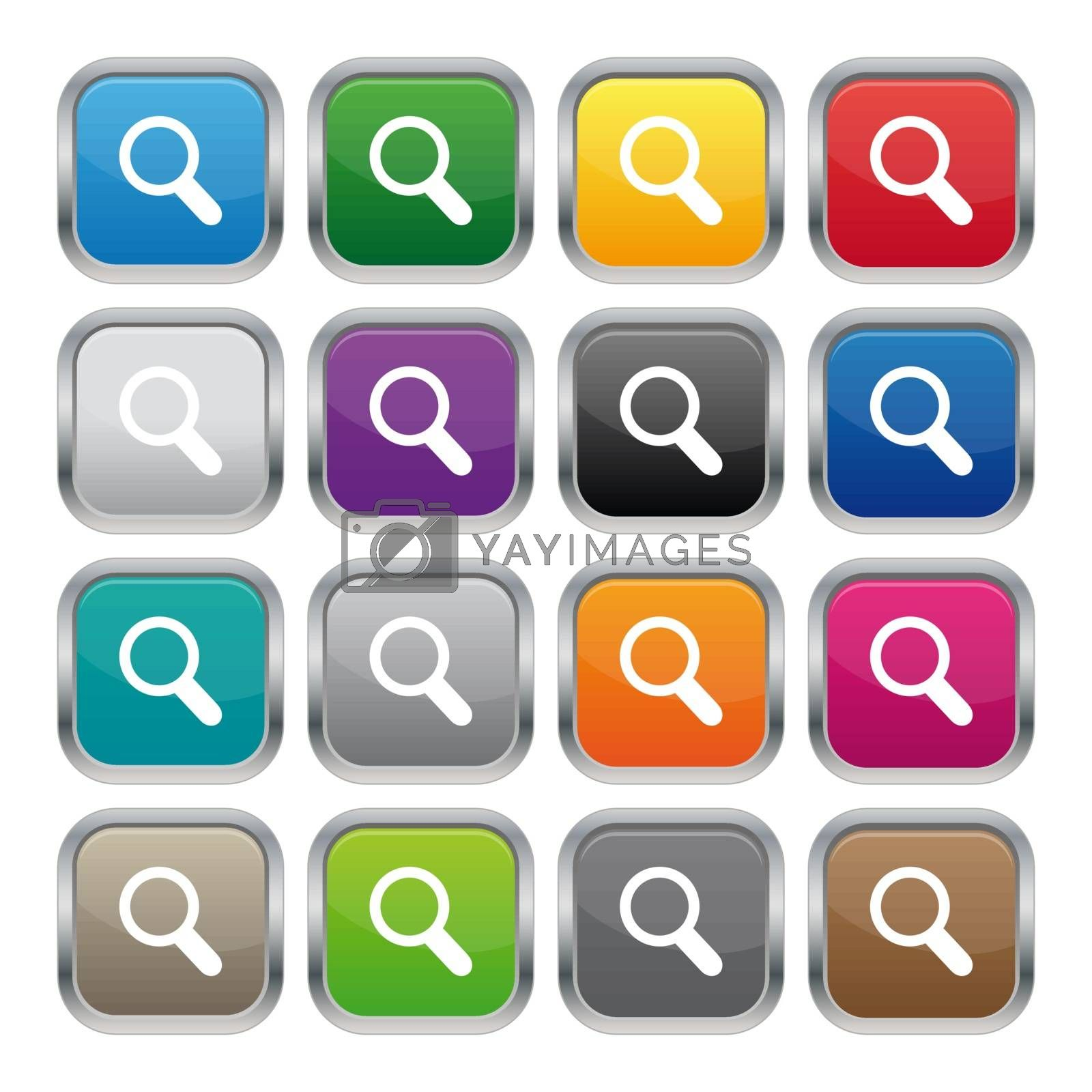 Royalty free image of Search metallic square buttons by simo988