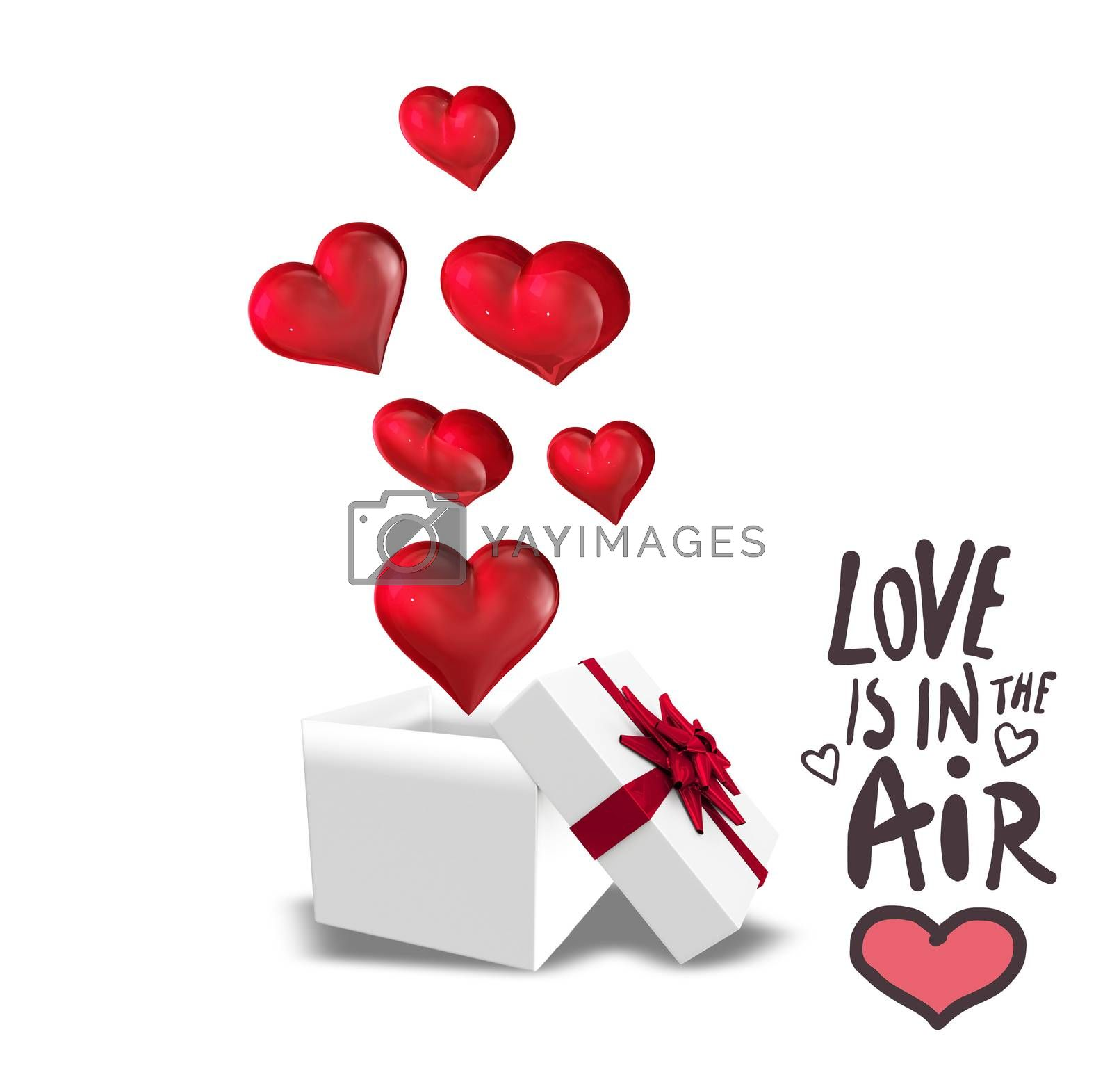 love is in the air against hearts flying from box