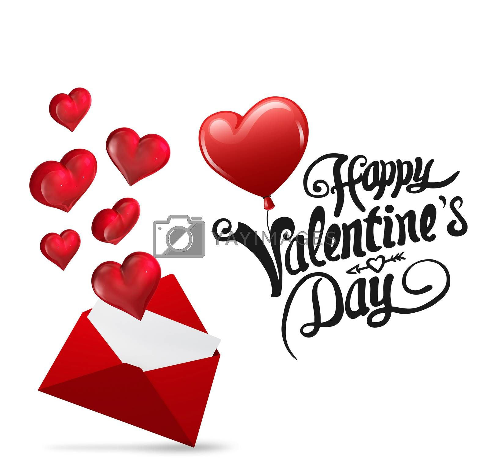 Cute valentines message against love letter