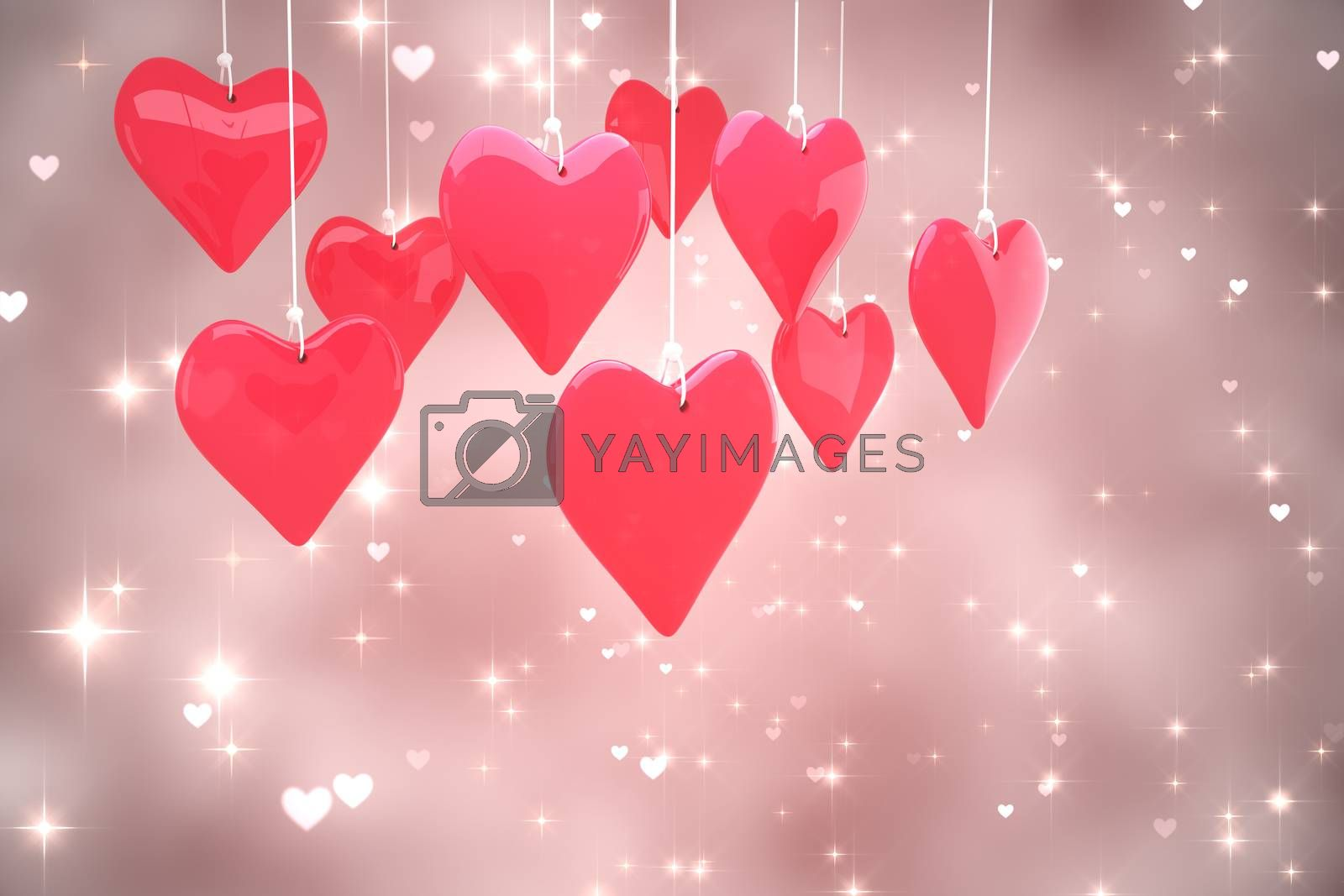 Love hearts against valentines heart design