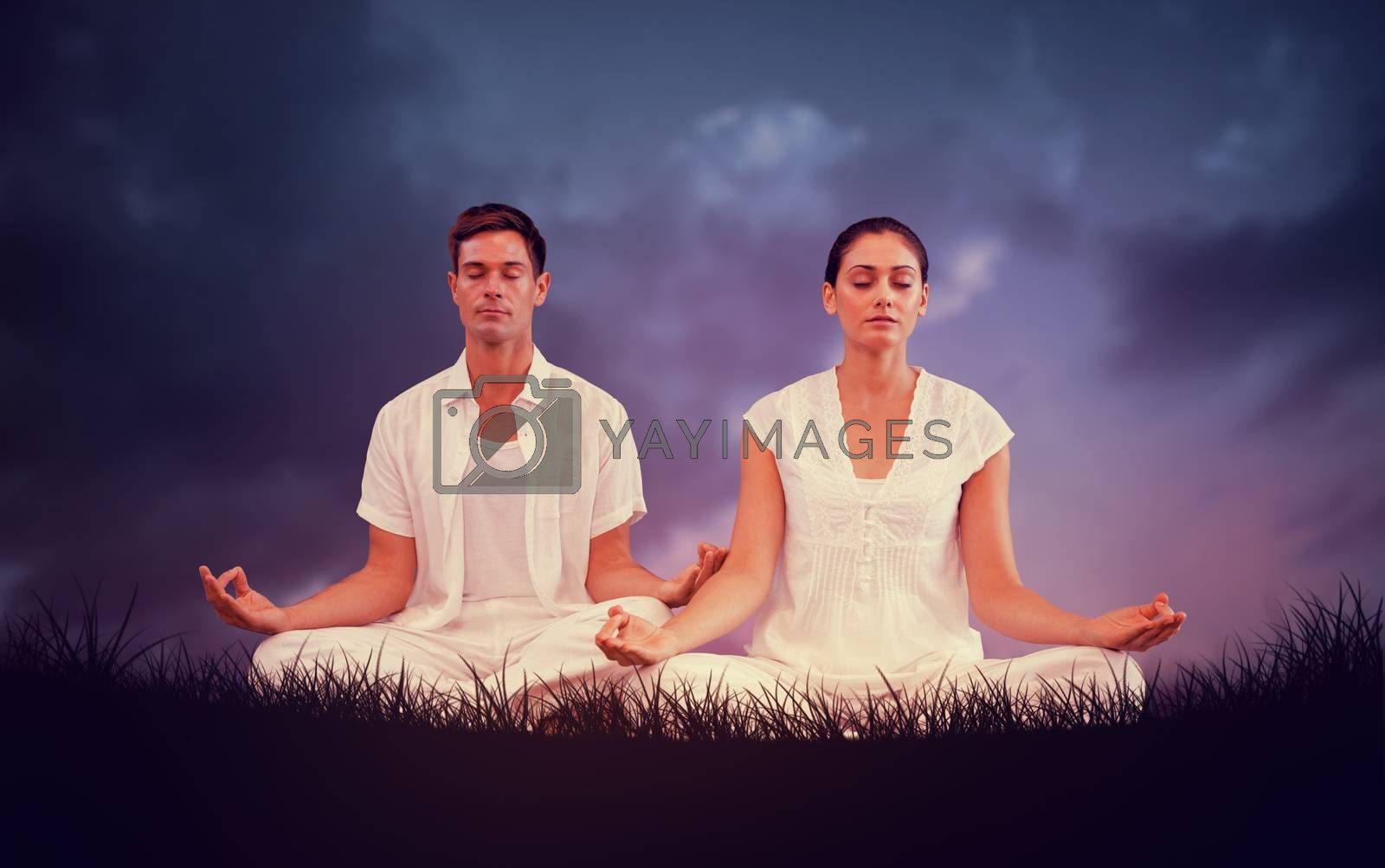 Composite image of attractive couple in white meditating in lotus pose by Wavebreakmedia