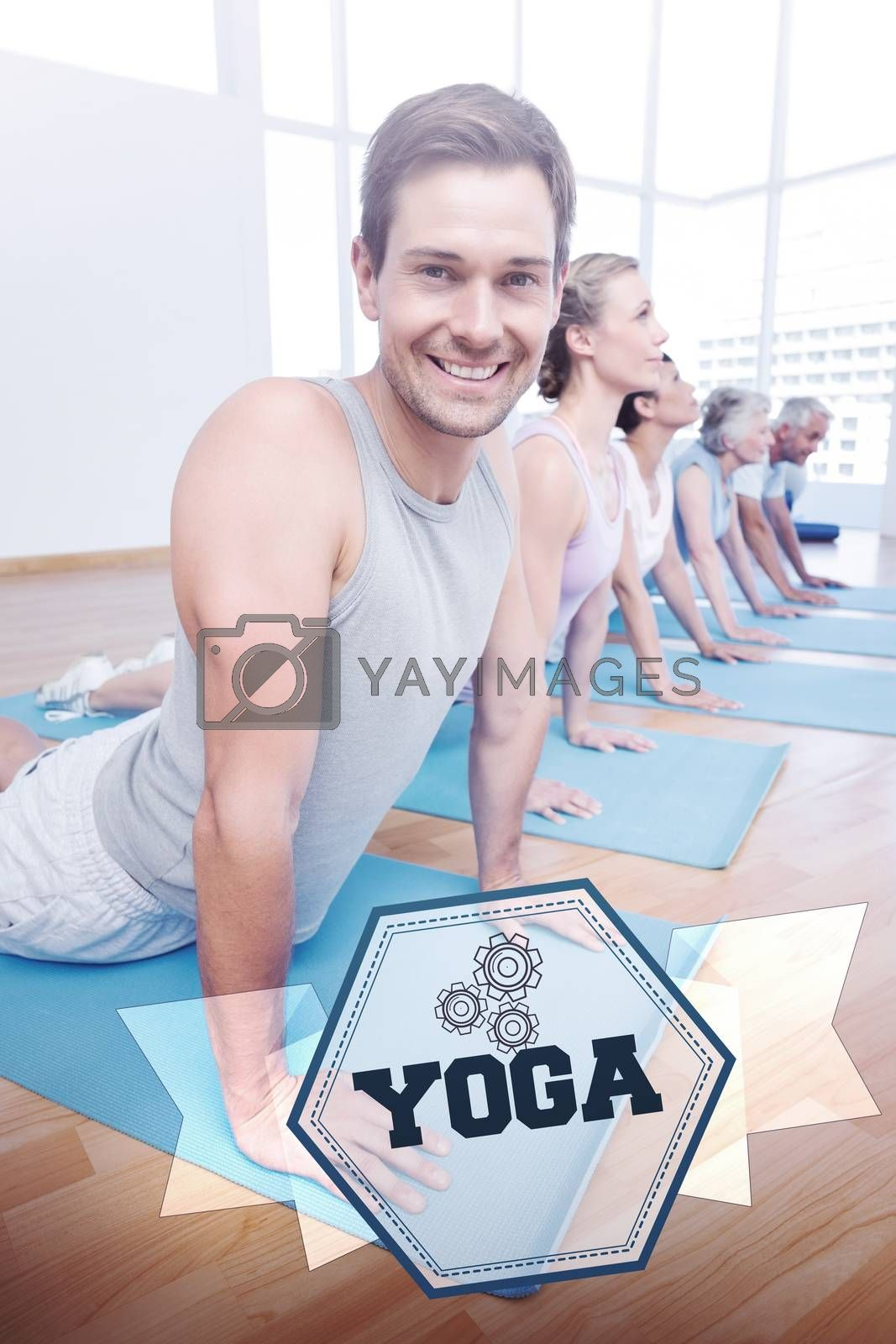 The word yoga and froup doing cobra pose in row at yoga class against hexagon
