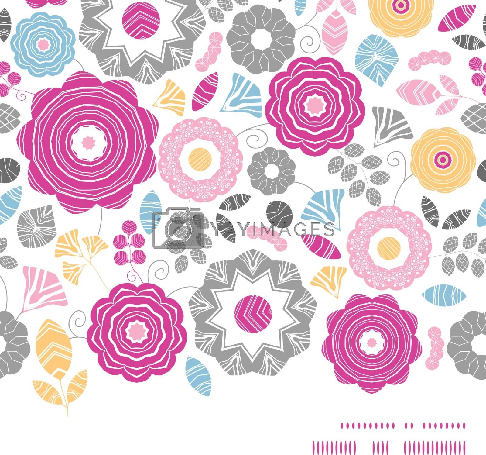 Vector vibrant floral scaterred horizontal frame seamless pattern background graphic design