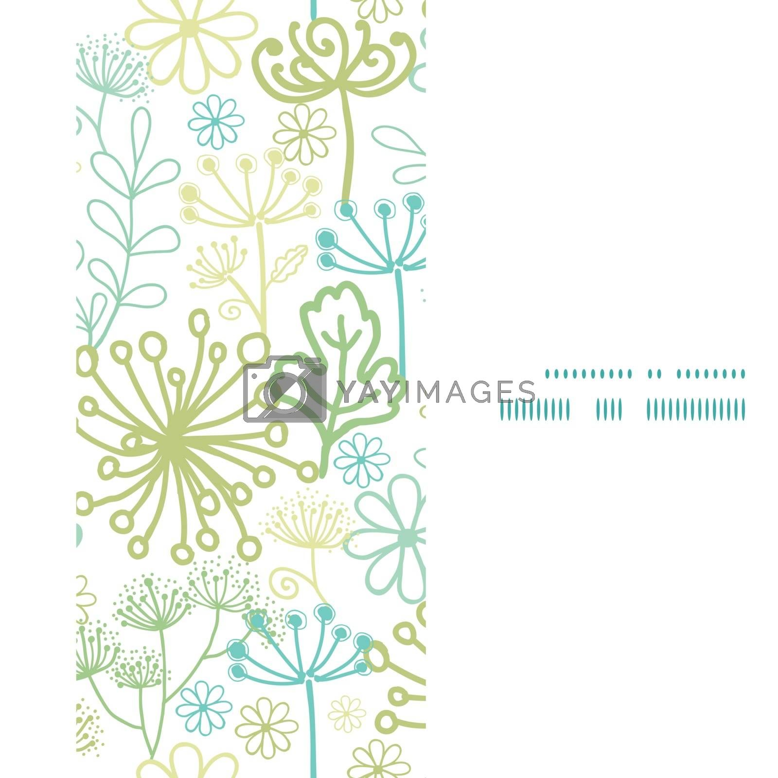 Vector mysterious green garden vertical frame seamless pattern background graphic design