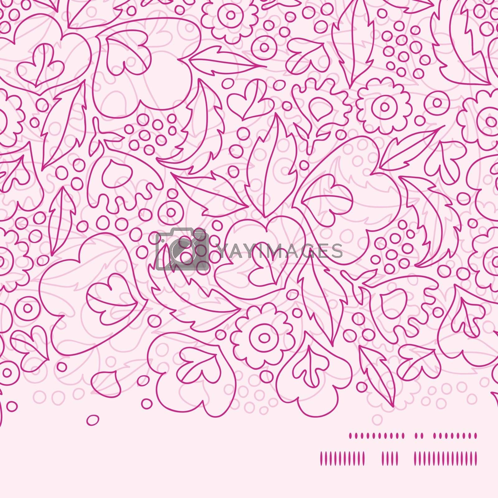 Vector pink flowers lineart horizontal frame seamless pattern background graphic design
