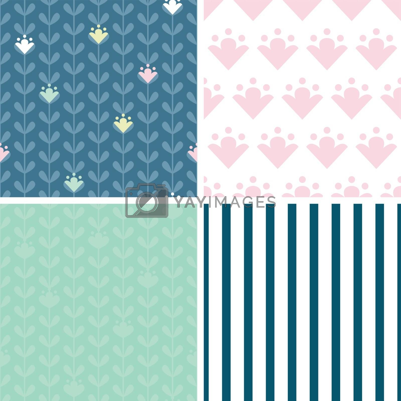 Vector blloming vines stripes set of four marching repeat patterns graphic design