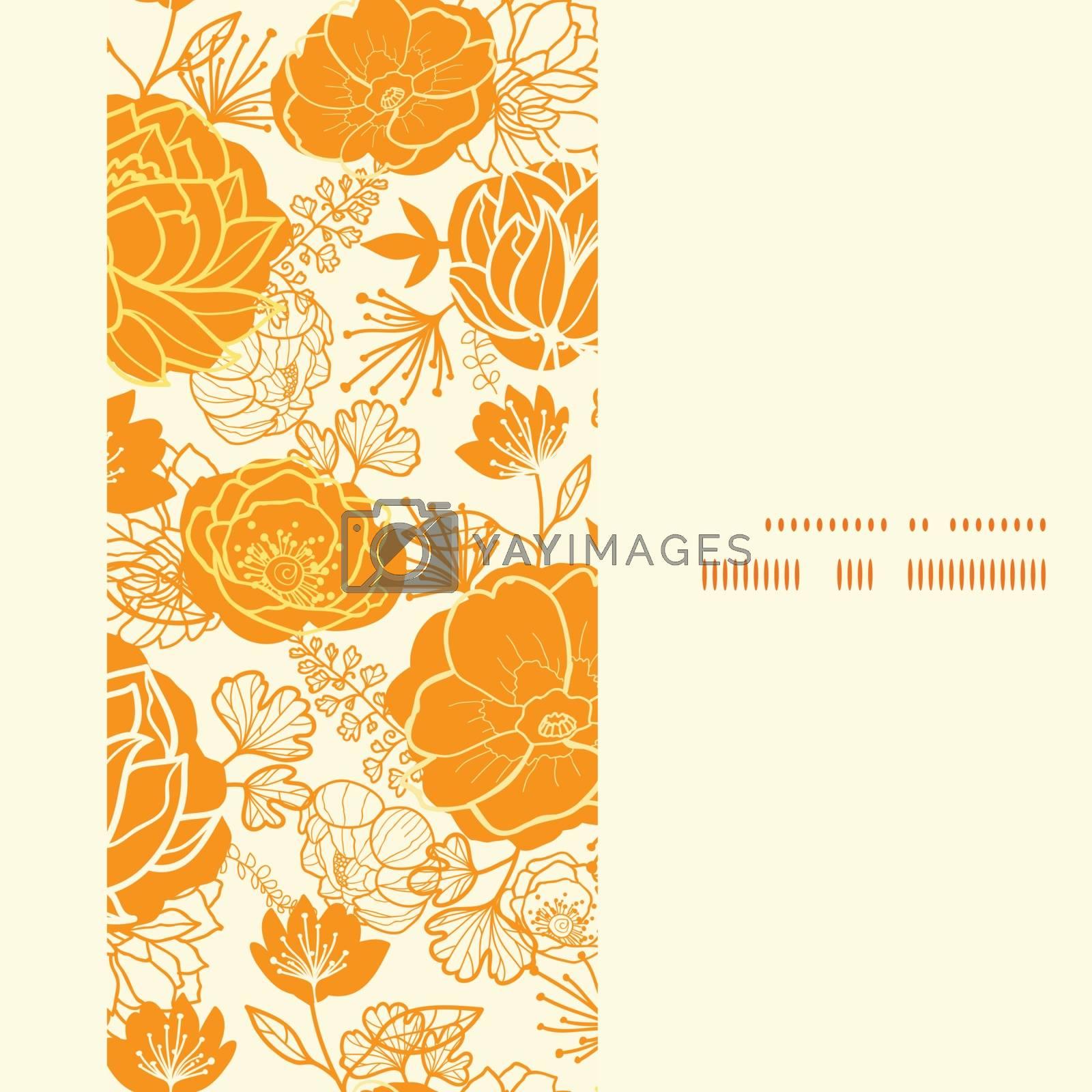 Vector golden art flowers vertical frame seamless pattern background graphic design